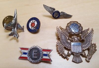 Lot of 5 Vintage US Military Patriotic Pins Overseas Service Prod Excellence