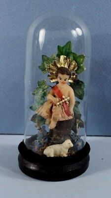 Antique Victorian German Wax Diorama of the Infant Jesus + Lamb under Glass Dome