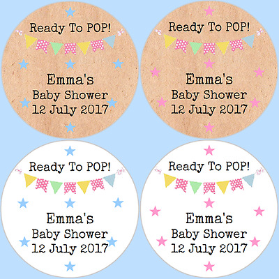 24 Personalised Ready to Pop Vintage Bunting Baby Shower Stickers Labels - DE1