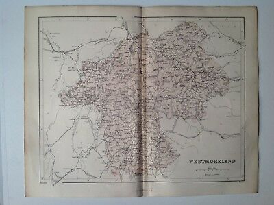 Westmoreland c1868 Antique County Map, Original, Atlas England Kendal Ambleside