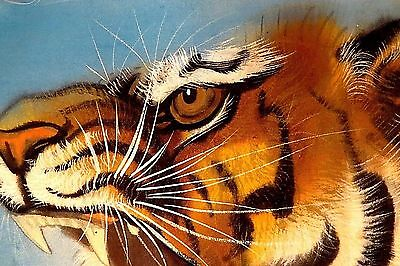 Antique c1920's JAPANESE Signed  SILK Tiger Tora Scroll PAINTING Bamboo Grove