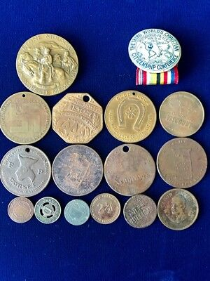 Vintage Circa 1910 up  Lot of Tokens, Badges, Medals, Coins  16 Total