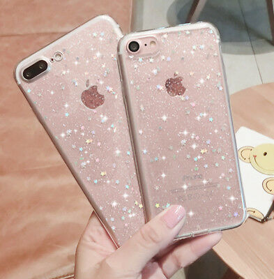 Luxury Bling Glitter Clear Soft TPU Phone Back Case Cover For iPhone 7 6s 5 8+ X