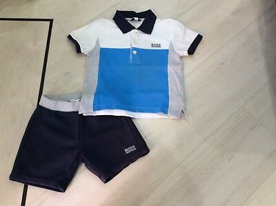 Boys Designer Hugo Boss Outfit Polo Top And Shorts Age 2 Years