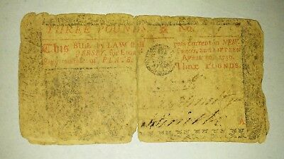 April 10 1759 New Jersey 3 pound Colonial Note