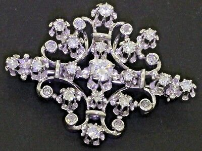 14K white gold 1.06CT diamond cluster filigree brooch/pendant w/ .34CT ctr.