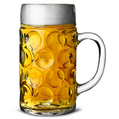 Personalised Engraved Giant Beer Stein Glass 2 Pint Dimpled Beer Tankard Gift