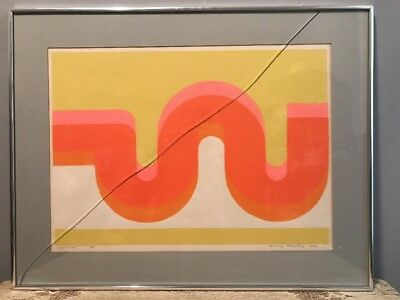 Rare MCM Signed Painting Lithograph 3/10 Experiment Framed Mid Century Art