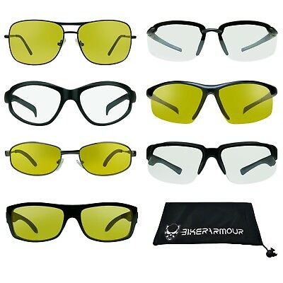 Night Vision Clear Yellow Safety Sunglasses Driving Motorcycle Shooting Glasses