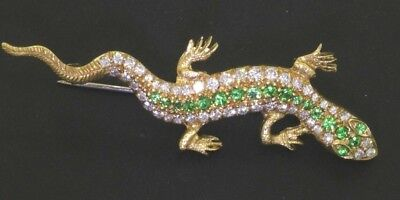Heavy 18k yellow gold 2.40ct VS/F diamond and tsavorite salamander lizard brooch