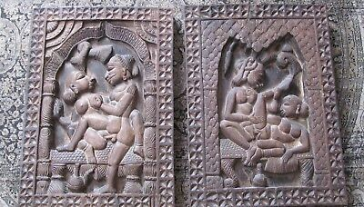 2 large, extremely heavy hand-carved antique Kama Sutra wall-mount carvings