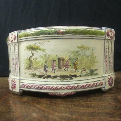 LATE 19thC MARSEILLES VEUVE PERRIN STYLE FRENCH FAIENCE DEMILUNE BOUGH POT