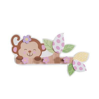 "Babies""R""Us 4946 Pink Wooden Baby Girl Monkey Wall Decor 17.5 x 9.6 In BHFO"