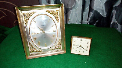 Vintage Swiza Brass Desk / Mantel Clock plus Travel clock- please read listing