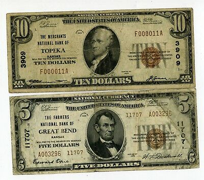2 1929 Kansas National Banknotes, $10 Merchants Topeka, $5 Farmers Great Bend