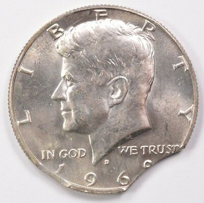 50c 1969-D Kennedy Half 6% Double-Curved Clipped UNC