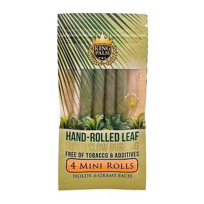 1x Pack King Palm Mini Leaf (4 Pre Rolled Cones ) Real Natural Hand Roll & Tip