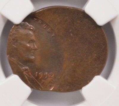 NGC 1c 1952-D Wheat Cent 50% Off-Center MS63 BN