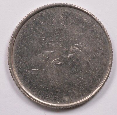25c 2000 South Carolina Quarter 70% Struck Through Obverse and Reverse BU