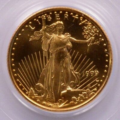 PCGS G$5 1999-W 1/10 Gold Eagle Struck W/Unfinished Proof Dies MS69