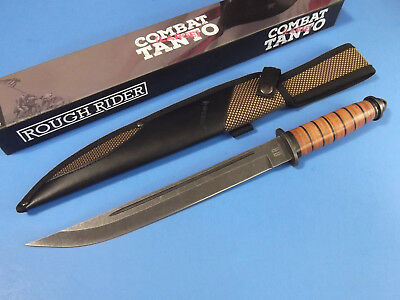 "ROUGH RIDER RR1719 Large COMBAT TANTO Stacked Leather knife 16 3/4"" overall NEW!"