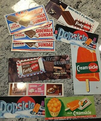 Cool Vintage Ice Cream Poster Lot Fudgsicle Creamsicle Popscicle Sidewalk Sundae