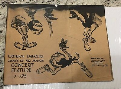 Rare Vintage Dance of the Hours Ostrich Production Ozalid Disney Fantasia Print