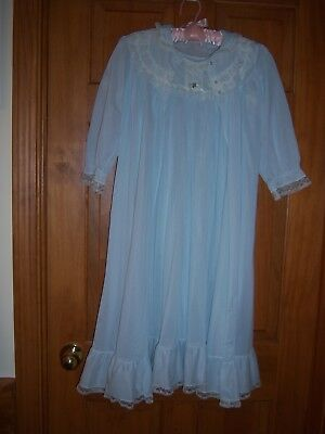 LOVELY VINTAGE HER MAJESTY GIRL'S BABY BLUE NIGHTGOWN & ROBE SET~SIZE 14~1960's?