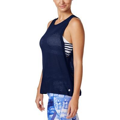 Calvin Klein Performance 4960 Womens Blue Mesh Lace-Up Tank Top L BHFO