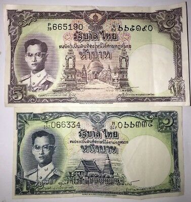 Thai 1 and 5 Baht Rare Lot Collectible Old Banknotes King Rama Thomas De La Rue.