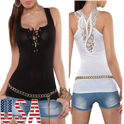 Women Backless Vest Tank Top Sexy Lace Halter Blouse Sleeveless Camisole Shirt