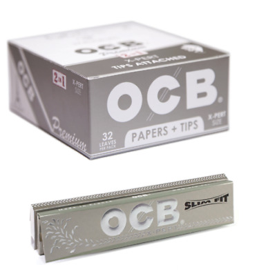 24 Booklets OCB Premium  X-Pert  Size Cigarette Rolling Papers + Tips  FULL BOX