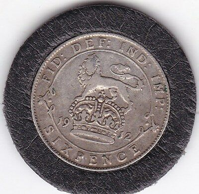 1912   King  George  V  Sixpence  (6d)  Sterling  Silver  British  Coin