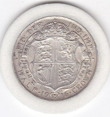 Very Sharp  1916   King  George V  Half  Crown  (2/6d) -  Silver  (92.5%)  Coin