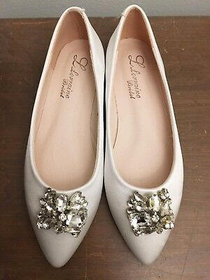 NEW Women's US 6.5 White - Diamond Silk Bridal Prom Comfort Flats Shoes