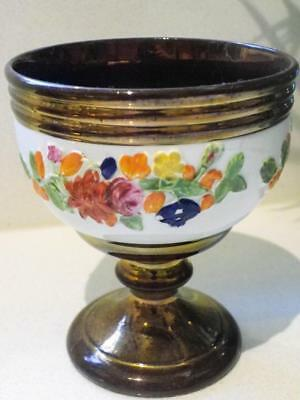 Antique Rare Beautiful Luster Ware Footed Hand Painted Goblet C.1890