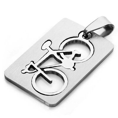 5X(Stainless Steel Men's Bike Pendant Necklace, 58cm silver chain I6U8)
