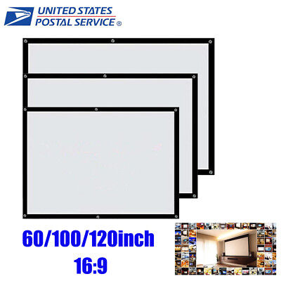 """60-120"""" 16:9 Portable Projector Screen Projection Home Movie Theater Fabric US"""