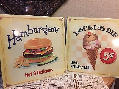Vintage Retro Lot of 2 Tin Restaurant Sign Hamburger and Ice Cream Cone New