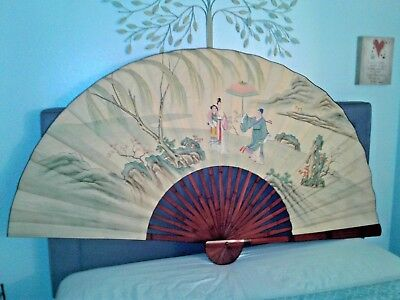 Chinese Folding Wall Fan Hand Painted Watercolor Queen Headboard Size antique