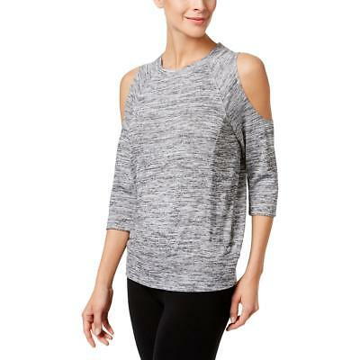 Calvin Klein Performance 0034 Womens Gray Cold Shoulder Pullover Top XL BHFO