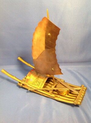 Rare Chinese bronze Brass gilt fisherman fishing bamboo boat