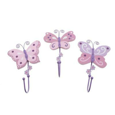 Koala Baby 3117 Pink 3PC Nursery Hooks Butterfly Wall Decor Set O/S BHFO