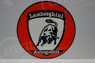 "LAMBORGHINI  Vintage Steel Enamel DEALERSHIP SIGN. HUGE 20"" IN DIAMETER!"