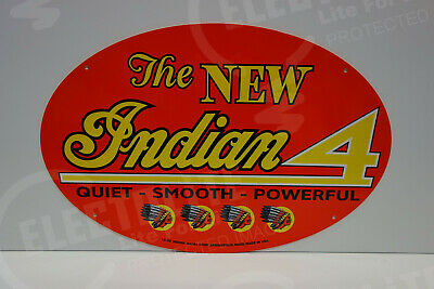 NOS INDIAN MOTORCYCLE DEALER INDIAN 4 DIE CUT Rare ENAMEL OVULAR SIGN NICE!