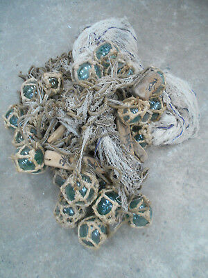Collectable Vintage FISHING NET with GLASS +WOOD FLOATS Very Large Japanese #805