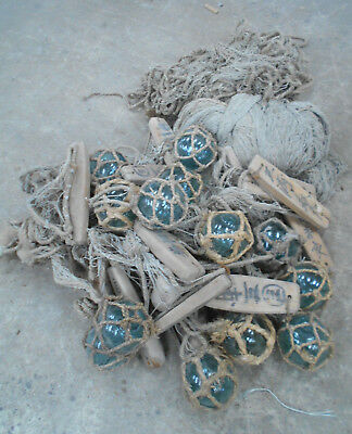 Collectable Vintage FISHING NET with GLASS +WOOD FLOATS Large Japanese #809