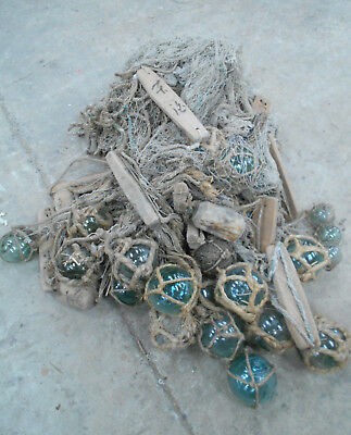 Collectable Vintage FISHING NET with GLASS +WOOD FLOATS Very Large Japanese #815