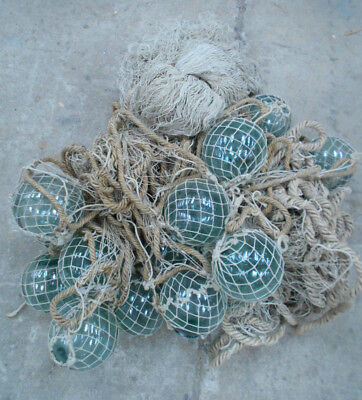 Collectable Vintage FISHING NET with GLASS FLOATS Small Japanese #811