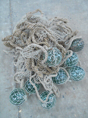 Collectable Vintage FISHING NET with GLASS FLOATS Small Japanese #813